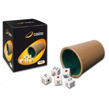 Cubilete forrado con 5 Dados de Póker