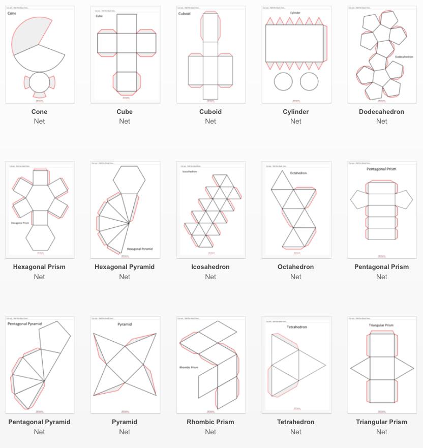 Imprimibles para construir cuerpos geométricos - Aprendiendo Matemáticas
