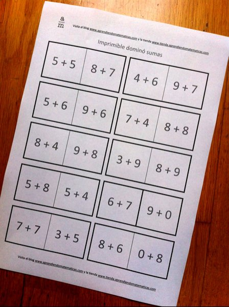 Plantilla para hacer un dominó tú mismo - Aprendiendo matemáticas