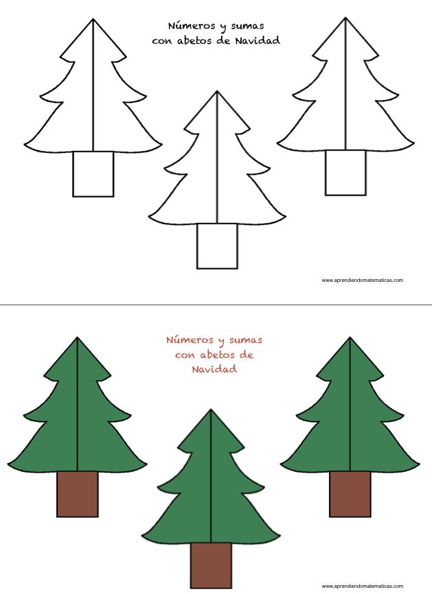 Abetos con sumas para la Navidad - Apreniendo Matemáticas