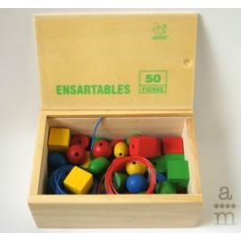 Ensartables de madera (50 piezas)