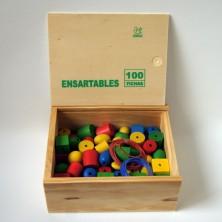 Ensartables de madera (100 piezas)