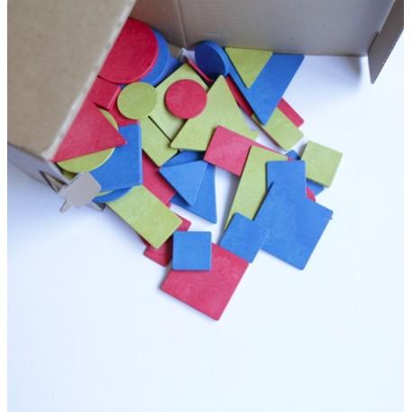 Bloques lógicos en madera reciclada 48 piezas