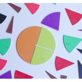Fracciones circulares de plástico de 10 cm de diámetro