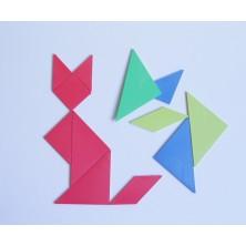 Set de 4 tangrams de plástico de colores
