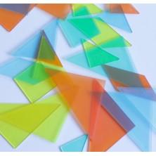 Set de 4 tangrams de plástico transparentes de colores