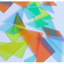 Set de 4 tangrams de plástico transparente de colores
