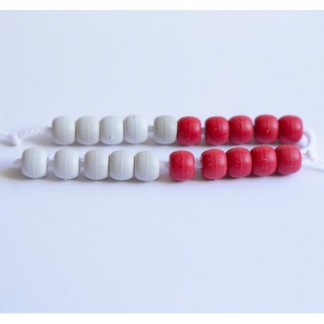 Cadena de 20 bolas blancas y rojas de plástico de 13 mm de diámetro