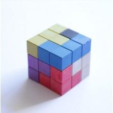 Cubo Soma de madera reciclada de colores