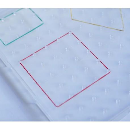 Geoplano cuadrado transparente de plástico 23 x23 cm