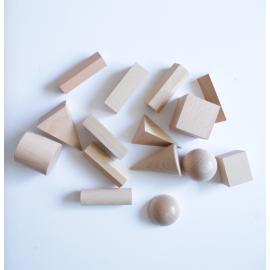 Set de 15 Cuerpos Geométricos de Madera