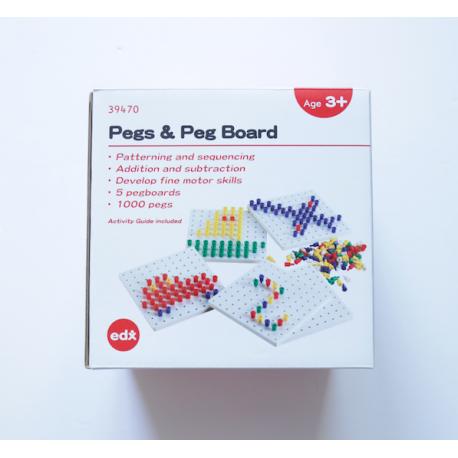 Set de 1000 Pegs de 5 Colores con 5 Bases Cuadradas