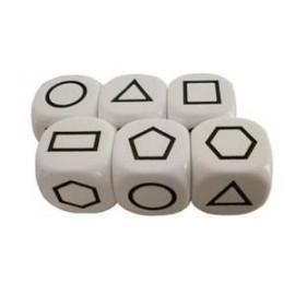 Bolsa 6 dados 22 mm. 6 figuras geométricas