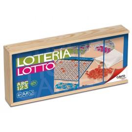 Lotto-Tómbola con 48 Cartones en Caja de Madera