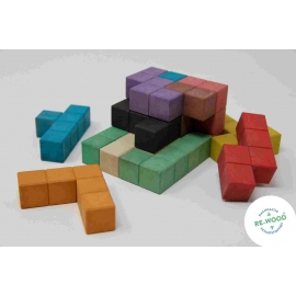 Set de 12 pentominos gruesos de madera RE-Wood®