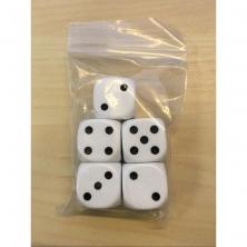 Bolsa 5 dados 16mm. blancos con puntos