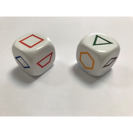 Bolsa 2 dados 22 mm. 6 figuras geométricas color