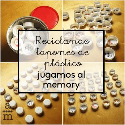 Reciclando tapones de plástico jugamos al Memory
