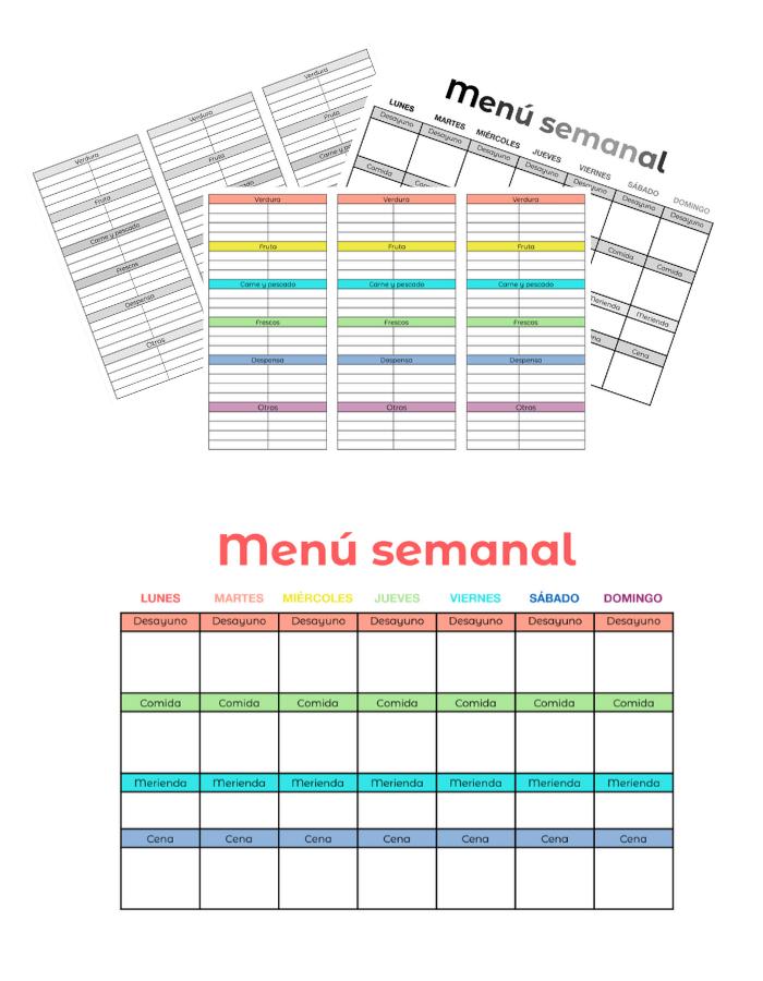 organizador menu semanal